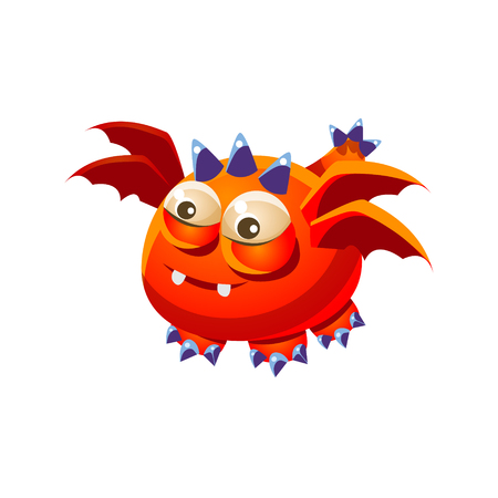 fantastic creature: Orange Fantastic Friendly Pet Dragon With Four Wings Fantasy Imaginary Monster Collection. Colorful Imaginary Dragon Like Alien Creature From Another Planet. Illustration