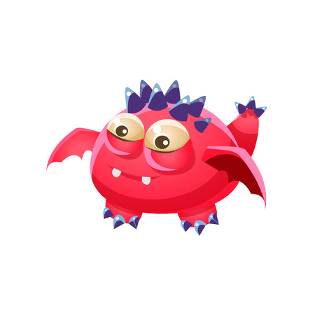 fantastic creature: Pink Spiky Fantastic Friendly Pet Dragon Fantasy Imaginary Monster Collection. Colorful Imaginary Dragon Like Alien Creature From Another Planet.