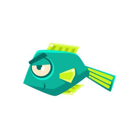 cheeky: Turquoise Cheeky Fantastic Aquarium Tropical Fish Cartoon Character. Fantasy Warm Water Aquatic Life And Marine Fish Collection Element. Illustration