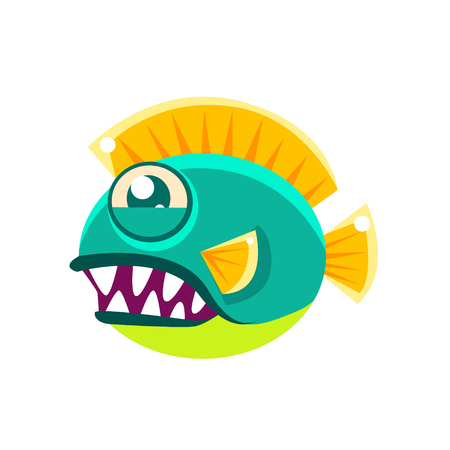 aquatic life: Agressive Round Turquoise Fantastic Aquarium Tropical Fish With Big Teeth Cartoon Character. Fantasy Warm Water Aquatic Life And Marine Fish Collection Element.