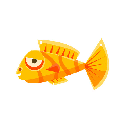 Orange Stripy Phlegmatic Fantastic Aquarium Tropical Fish Cartoon Character. Fantasy Warm Water Aquatic Life And Marine Fish Collection Element.