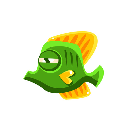 determined: Determined Green Fantastic Aquarium Tropical Butterfly Fish Cartoon Character. Fantasy Warm Water Aquatic Life And Marine Fish Collection Element.
