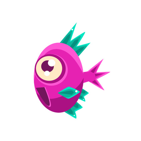 aquatic life: Excited Pink Fantastic Aquarium Tropical Fish With Spiky Turquoise Fins Cartoon Character. Fantasy Warm Water Aquatic Life And Marine Fish Collection Element.
