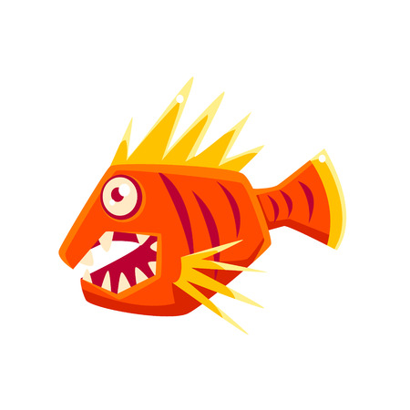 agressive: Red Agressive Fantastic Aquarium Tropical Fish With Spiky Fins Cartoon Character. Fantasy Warm Water Aquatic Life And Marine Fish Collection Element. Illustration