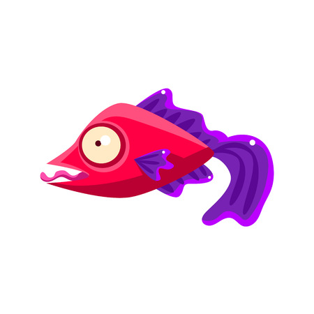 Silly Red Fantastic Aquarium Tropical Fish With Purple Fins Teasing With Tongue Out Cartoon Character. Fantasy Warm Water Aquatic Life And Marine Fish Collection Element. Illustration
