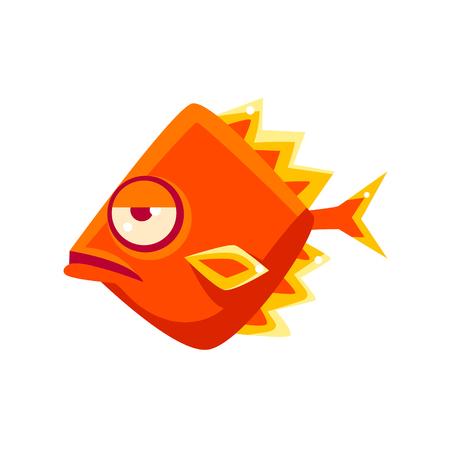 Snobbish Orange Diamon Shaped Fantastic Aquarium Tropical Fish Cartoon Character. Fantasy Warm Water Aquatic Life And Marine Fish Collection Element. Illustration