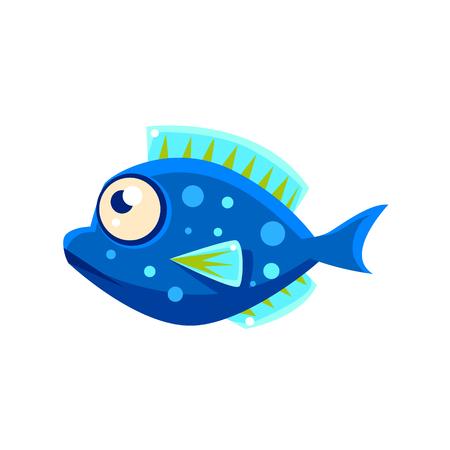 blue fish: Dark Blue Spotted Fantastic Aquarium Tropical Fish Cartoon Character. Fantasy Warm Water Aquatic Life And Marine Fish Collection Element.
