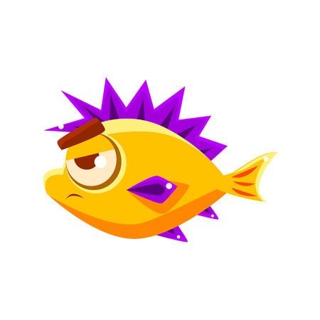 aquatic life: Pissed Off Yellow Fantastic Aquarium Tropical Fish With Spiky Purple Fins Cartoon Character. Fantasy Warm Water Aquatic Life And Marine Fish Collection Element.