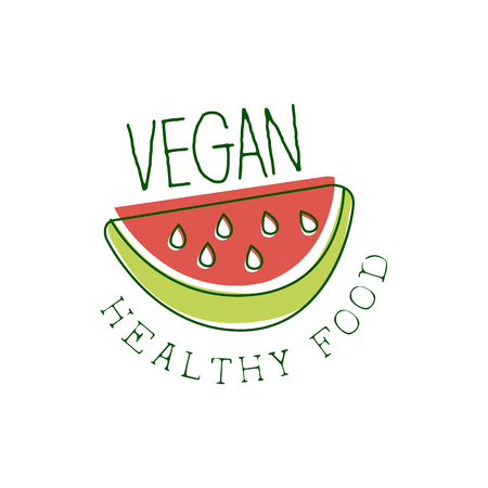 vegan food: Fresh Vegan Food Promotional Sign With Slice Of Watermelon For Vegetarian, Vegan And Raw Food Diet Menu. Hand Drawn Advertisement For Natural Products And Healthy Lifestyle Eating. Illustration