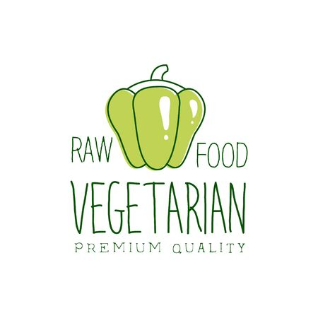 vegan food: Fresh Vegan Food Promotional Sign With Sweet Pepper For Vegetarian, Vegan And Raw Food Diet Menu. Hand Drawn Advertisement For Natural Products And Healthy Lifestyle Eating.