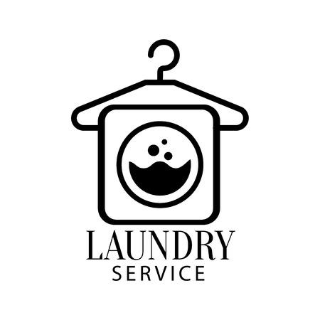 Sinal preto e branco para o serviço de lavanderia e lavagem a seco com símbolo de cabide e máquina de lavar. Modelo de serviço de lavagem de roupas de vetor com texto caligráfico, lavagem e coleção de selos de dobra.