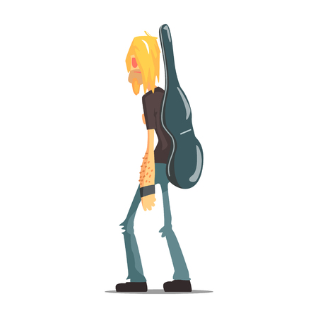 Rock Band Member Funny Character With The Guitar Case. Graphic Design Cool Geometric Style Isolated Illustration On White Background Illustration