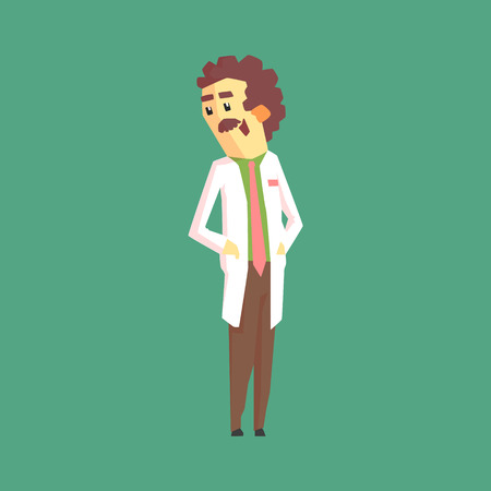 Funny Scientist In Lab Coat Standing And Smiling. Character Drawing On Green Background In Cool Geometric Style