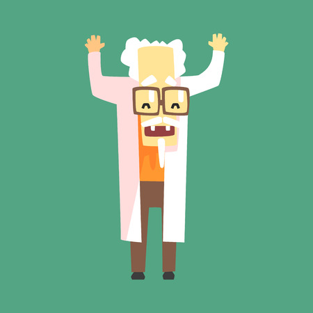 mad: Funny Scientist In Lab Coat With A Goatee. Character Drawing On Green Background In Cool Geometric Style Illustration