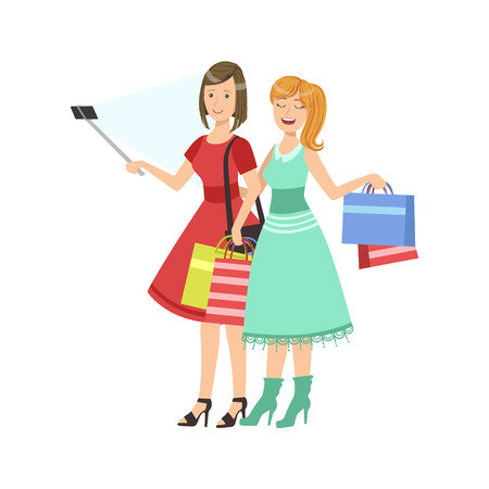 friend chart: Two Girlfriends Shopping Taking Picture With Selfie Stick Illustration.