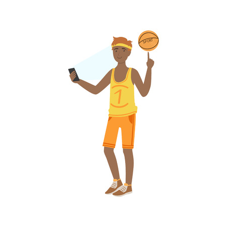 Basketball Player Taking Pictures With Photo Camera Illustration. Colorful Simplified Character Flat Vector Drawing Isolated On White Background.