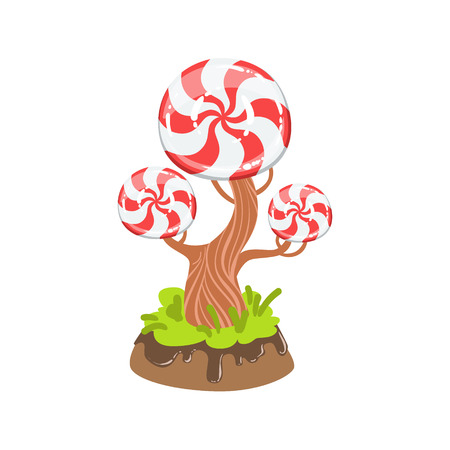 Hard Candy With Classic Swirl Pattern Tree Fantasy Candy Land Sweet Landscape Element. Illustrations From Girly Magic Sweet Land Design Set For Video Game Landscaping. 向量圖像