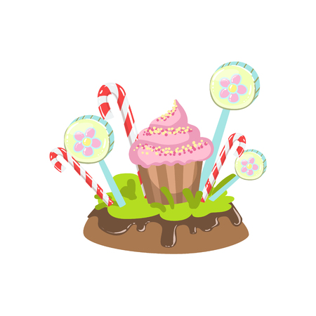 Cupcake, Hard Candy Stick And Lollypop Vegetation Fantasy Candy Land Sweet Landscape Element. Illustrations From Girly Magic Sweet Land Design Set For Video Game Landscaping.