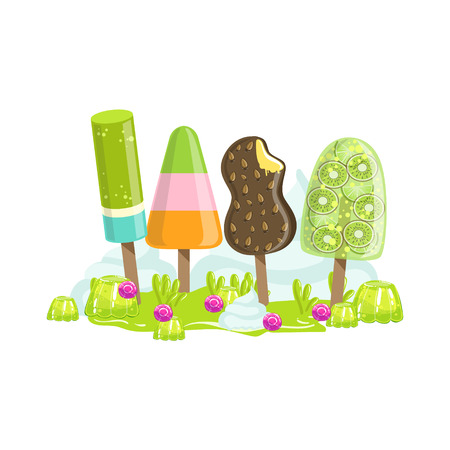 frozen fruit: Ice Cream And Frozen Fruit Trees Fantasy Candy Land Sweet Landscape Element. Illustrations From Girly Magic Sweet Land Design Set For Video Game Landscaping. Illustration