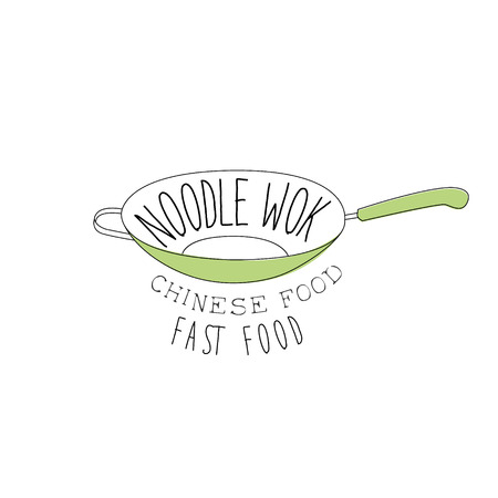 stir: Green Frying Pan Chinese Food And Wok Fast Food Cafe Menu Hand Drawn Illustration. Trendy Asian Junk Food Restaurant Promo Sketch Drawings.