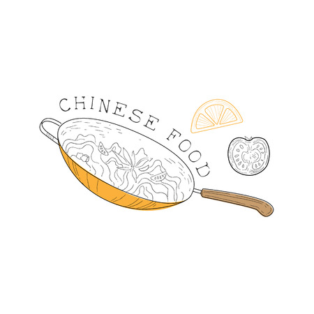 stir: Frying Pan, Tomato And Hot Pepper Chinese Food And Wok Fast Food Cafe Menu Hand Drawn Illustration. Trendy Asian Junk Food Restaurant Promo Sketch Drawings. Illustration