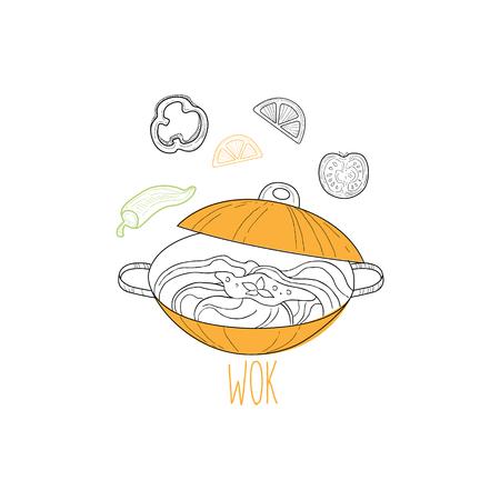 Wok a tészta kínai élelmiszer és wok gyorsétterem kávézó menü kézzel rajzolt illusztráció. Trendy Asian Junk Food Restaurant Promo Vázlatrajzok. Illusztráció