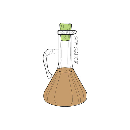 stir: Bottle Closed With Cork With Soy Sauce Chinese Food And Wok Fast Food Cafe Menu Hand Drawn Illustration. Trendy Asian Junk Food Restaurant Promo Sketch Drawings.