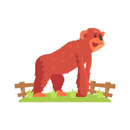 zoological: Chimpansee Ape On All Fours Standing On Green Grass Patch In Open Air Zoo Enclosure. Wild Animal Enclosed In Outdoor Zoological Park Funky Style Illustration On White Background. Illustration