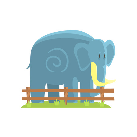 Simplified Blue Elephant Standing On Green Grass Patch In Open Air Zoo Enclosure. Wild Animal Enclosed In Outdoor Zoological Park Funky Style Illustration On White Background. Illustration