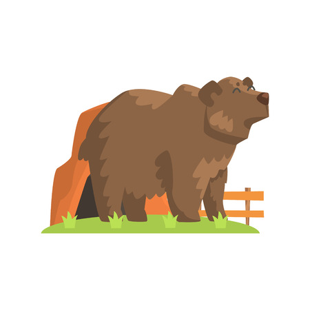 enclosure: Brown Bear Coming Out Of Bear Den Standing On Green Grass Patch In Open Air Zoo Enclosure. Wild Animal Enclosed In Outdoor Zoological Park. Cartoon Bear in Zoo Collection Illustration