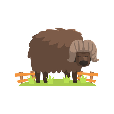 Musk Ox With Scruffy Brown Coat Standing On Green Grass Patch In Open Air Zoo Enclosure. Wild Animal Enclosed In Outdoor Zoological Park Funky Style Illustration On White Background. Illustration