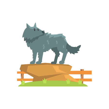 Grey Wolf Standing On Large Rock On Green Grass Patch In Open Air Zoo Enclosure. Wild Animal Enclosed In Outdoor Zoological Park Funky Style Illustration On White Background.