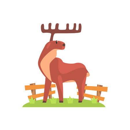 Brown Deer WIth Wide Antlers Standing On Green Grass Patch In Open Air Zoo Enclosure. Wild Animal Enclosed In Outdoor Zoological Park Funky Style Illustration On White Background. Illustration