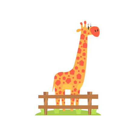 tall grass: Tall Orange Giraffe With Hexahedron Shaped Spots Standing On Green Grass Patch In Open Air Zoo Enclosure. Wild Animal Enclosed In Outdoor Zoological Park Funky Style Illustration On White Background.