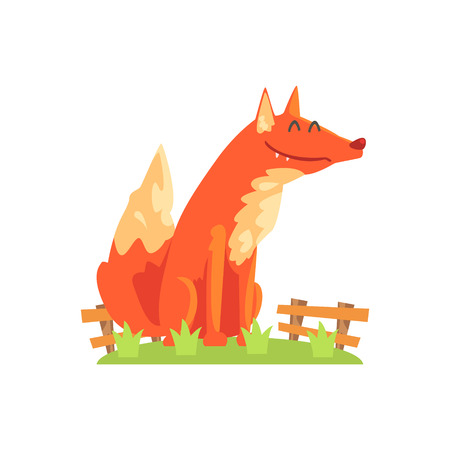 enclosure: Common Red Fox With Fluffy Coat Standing On Green Grass Patch In Open Air Zoo Enclosure. Wild Animal Enclosed In Outdoor Zoological Park Funky Style Illustration On White Background.