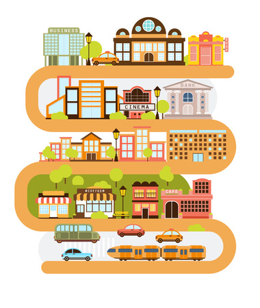 City Infrastructure And All The Urban Buildings Lined With The Curved Orange Line In Graphic Illustration. Modern Town Architecture and Common Services Separated In Blocks One On Top Of Another. 스톡 콘텐츠 - 65541802