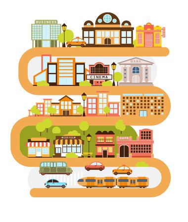 Stad Infrastructuur en All The Urban Gebouwen bekleed met de gebogen Oranje Lijn In grafische illustratie. Moderne Architectuur van de Stad en de Gemeenschappelijke Diensten Gescheiden In Blokken een op de top van een ander. Stockfoto - 65541802
