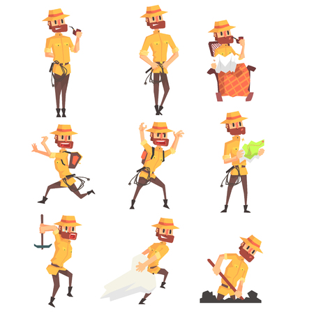 Adventurer Archeologist With A Whip Set Of Activity Illustrations.