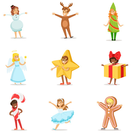 Children Dressed As Winter Holidays Symbols For The Costume Christmas Carnival Party. Illustration