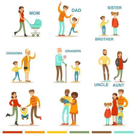 Bonne grande famille avec tous les parents Rassembler Y compris Mère, père, tante, oncle et grands-parents Illustrations avec des mots correspondants.