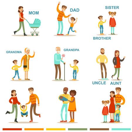 relatives: Happy Large Family With All The Relatives Gathering Including Mother, Father, Aunt, Uncle And Grandparents Illustrations With Corresponding Words. Illustration