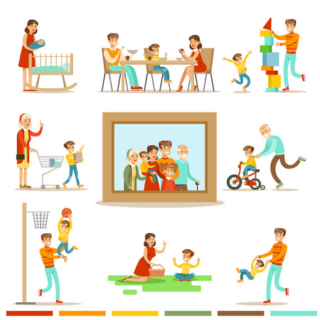 Happy Family Doing Things Together Illustration Surrounding Big Family Portrait Picture.