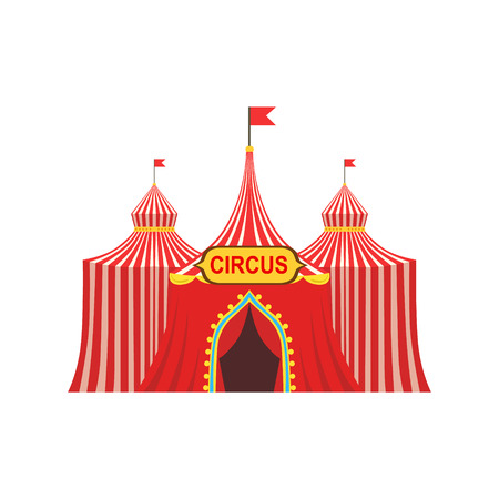 Circus Temporary Tent In Stripy Red Cloth With Flags And Entrance Sign. Illustration