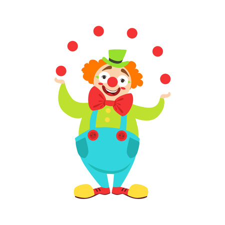 Circus Clown Artist In Classic Outfit With Red Nose And Make Up Performing Juggling Stunt For The Circus Show.