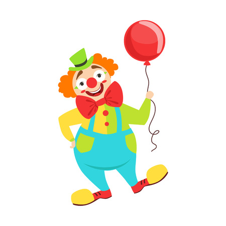 Circus Clown Artist In Classic Outfit With Red Nose And Make Up Holding A Balloon In The Circus Show. Illustration