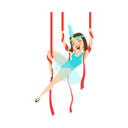Circus Girl Acrobat In Blue Outfit Performing Acrobatic Stunt On Hanging Ribbons For The Circus Show. Illustration
