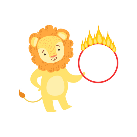 Circus Trained Lion Animal Artist Performing Stunt With The Burning Hula-Hoop For The Circus Show.