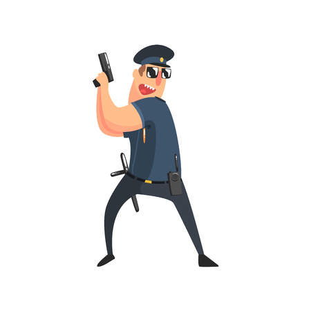 constable: Policeman In American Cop Uniform With Truncheon, Radio, Gun Holster And Sunglasses Holding The Pistol.