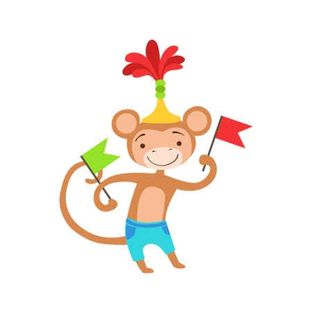 Circus Trained Monkey Animal Artist Performing A Dance With Flags For The Circus Show. Illustration