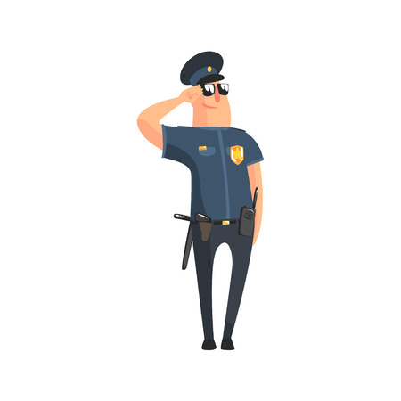 Policeman In American Cop Uniform With Truncheon, Radio, Gun Holster And Sunglasses Standing At Attention Saluting.